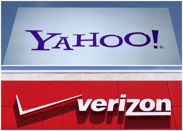 Montagem mostra o logo do Yahoo em sua sede em Rolle, na Suíça, em 2012, e o símbolo da Verizon em San Diego, nos Estados Unidos, em 2016 (Foto: Reuters)