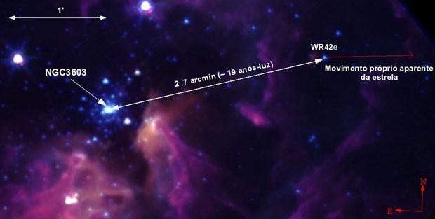 Localização da estrela WR42e e do aglomerado NGC 3603 (Foto: Alexandre Roman Lopes / Divulgação)