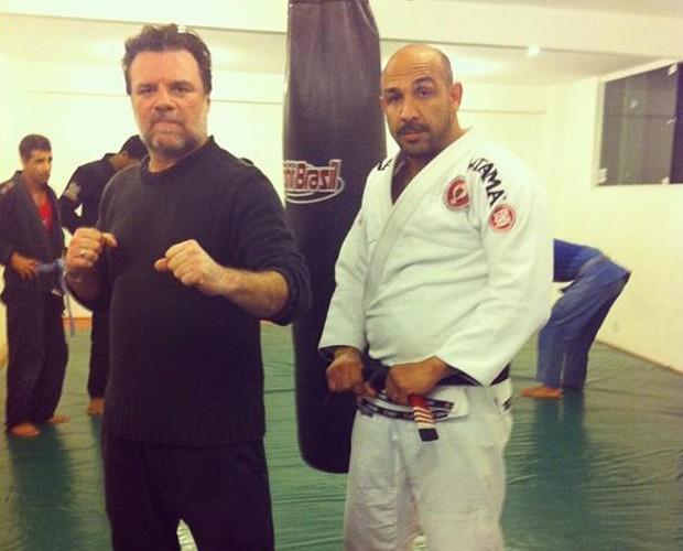 O ator tem treinado boxe com Rodrigo Riscado, marido da bailarina (Foto: Arquivo Pessoal)