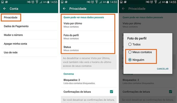 Opções de privacidade do WhatsApp (Foto: Reprodução/Barbara Mannara)