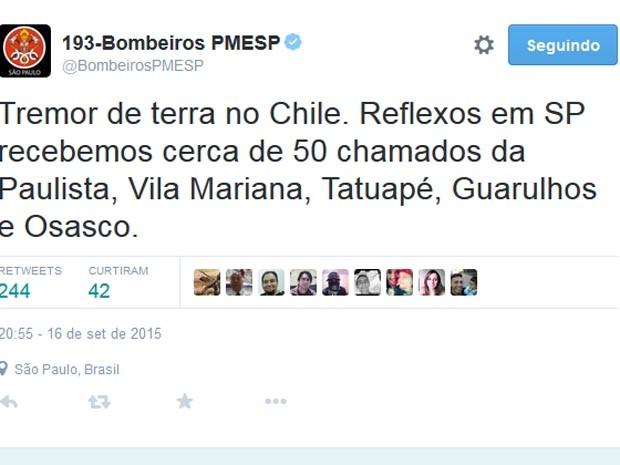 Tremor de terra no Chile causou reflexos em SP (Foto: Reprodução/Twitter)