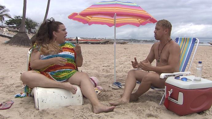 Atores Zeca de Abreu e George  Vladimir estreiam quadro 'A Saga de Marizete' (Foto: TV Bahia)