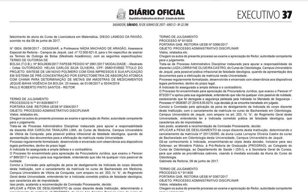 Expulsões de alunos foram publicadas no Diário Oficial do Estado (Foto: Reprodução)