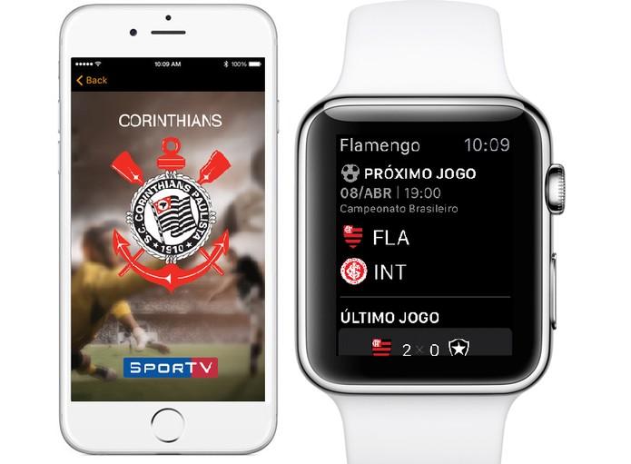 App para Apple Watch funciona como complemento do iPhone (Foto: Divulgação/SporTV)