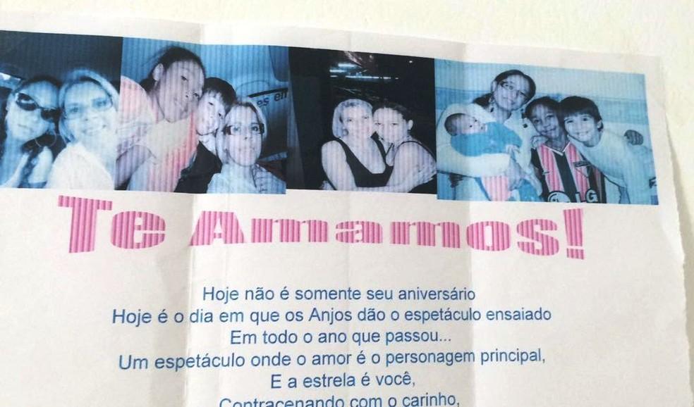 Carta dada pelos filhos à empresária (Foto: Rosangela Muraro/Arquivo Pessoal)