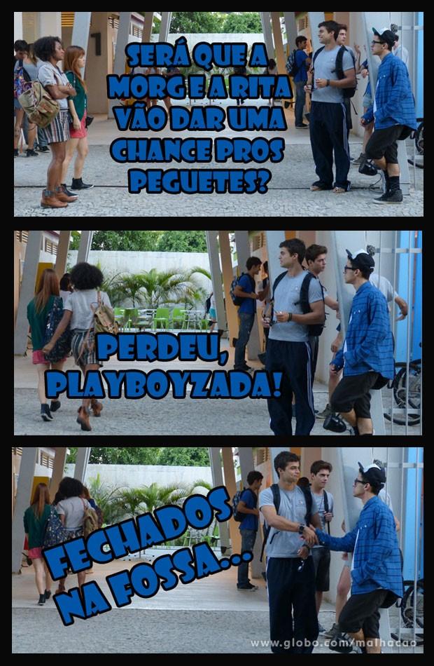 CLIMÃO! As meninas não vão dar mole pro Fera e pro Orelha não... (Foto: Malhação / Tv Globo)