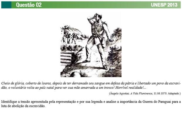 Vestibular da Unesp 2013 também teve questão sobre a Guerra do Paraguai (Foto: Reprodução/Vunesp)