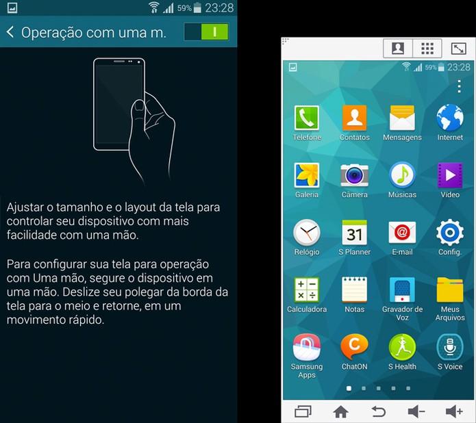 Modo para usar o Galaxy S5 com uma só mão (Foto: Reprodução)