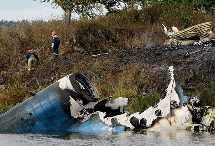 Acidente do esporte, Lokomotic Hóquei avião (Foto: AP)