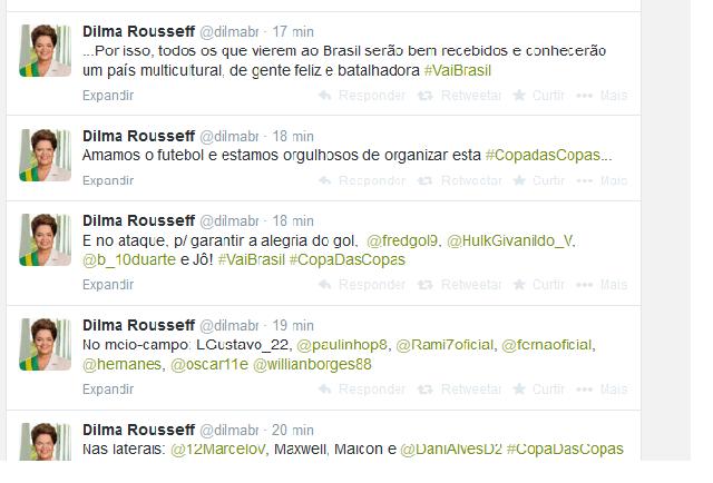 No Twitter, Dilma comentou a convocação da seleção brasileira para a Copa (Foto: Reprodução/Twitter)