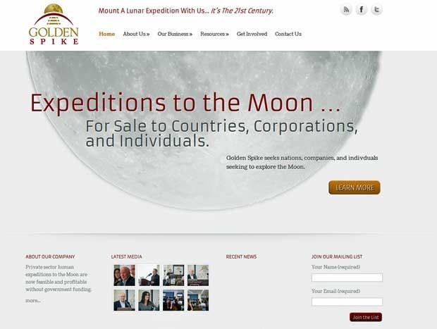 Site da Golden Spike anuncia que está procurando parceiros para explorar a Lua. (Foto: Reprodução / Site da Golden Spike)