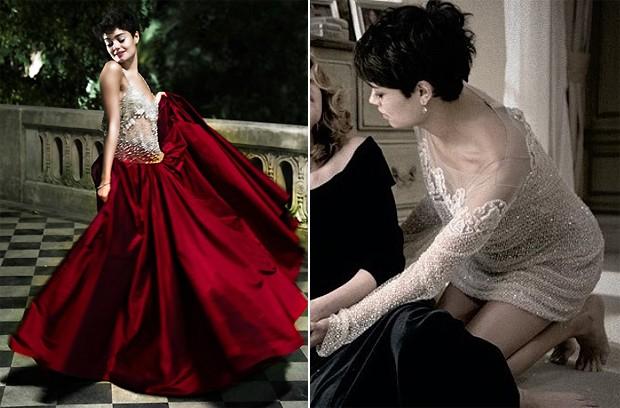 Sophie destaca a saia ampla de Patrcia Nascimento ( esq.) e o vestido nude de Mabel Magalhes ( dir.). (Foto: Divulgao / TV Globo)