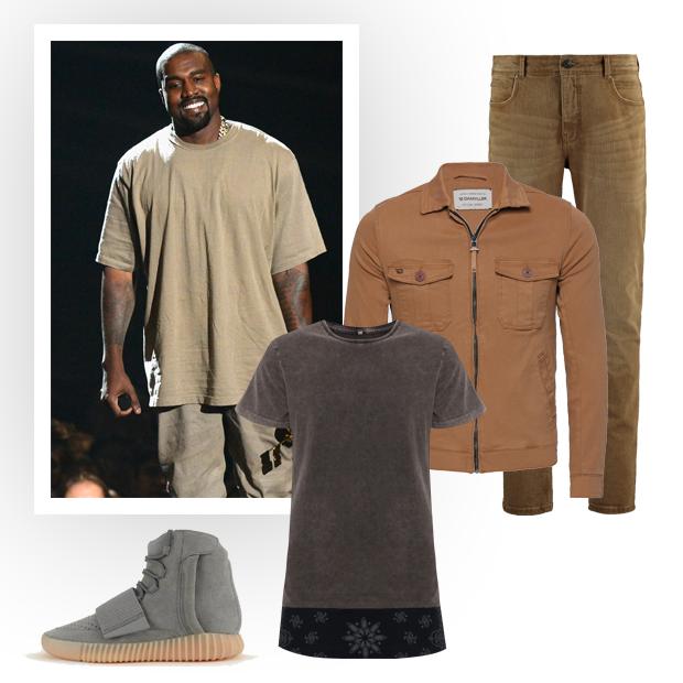 Calça Richards (R$ 469), jaqueta Damyller (R$ 439), camiseta C&A (R$ 49,99), tênis Adidas por Kanye West (R$ 1.299,99) (Foto: Getty Images/Divulgação)