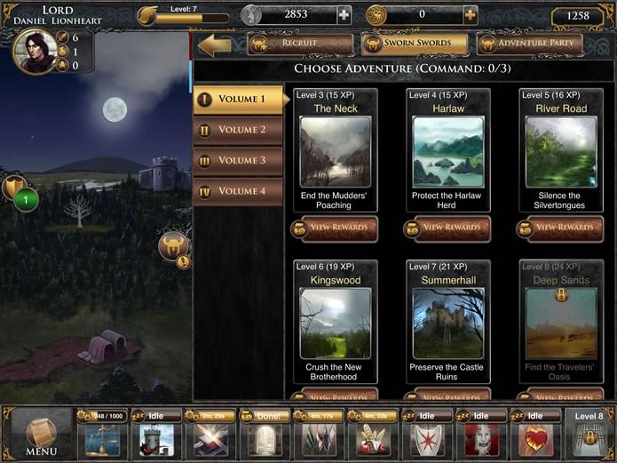 """Apertando o comando """"Adventure"""" na apresentação de seus cavaleiros e damas, o jogador poderá escolher aventuras independentes para estes servos (Foto: Reprodução/Daniel Ribeiro)"""