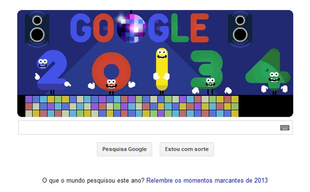 Animação do Google marca véspera de fim de 2013 (Foto: Reprodução/Google)