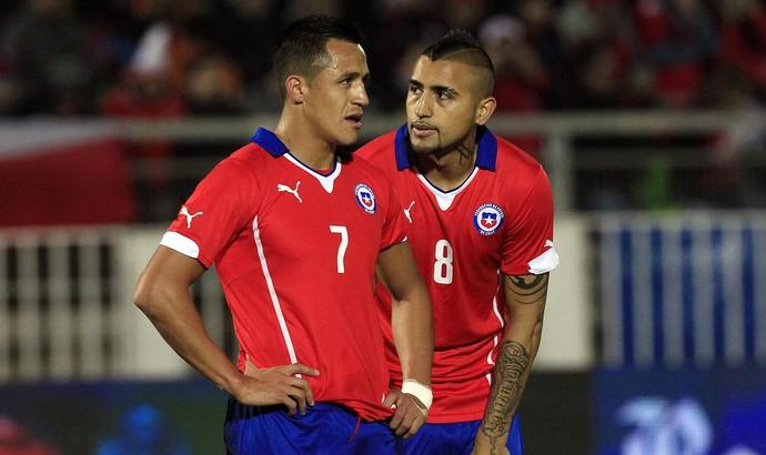 Alexis Sánchez e Arturo Vidal, seleção do Chile (Foto: AP)