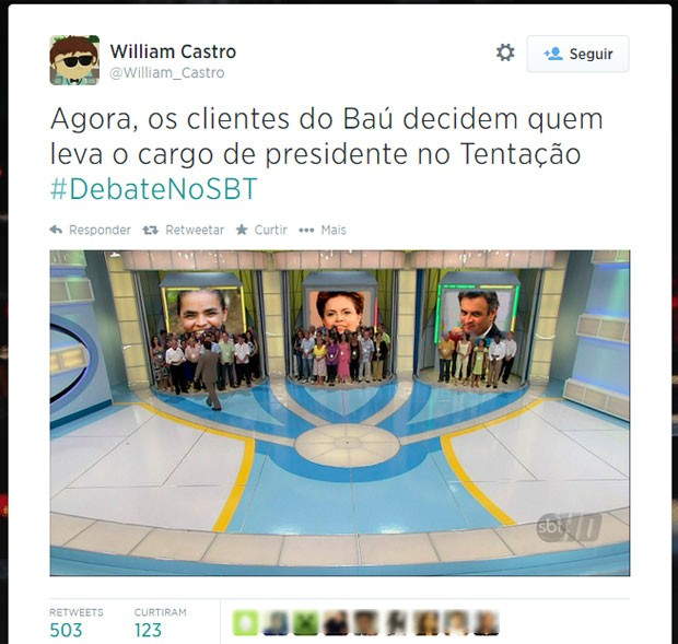Aécio Neves, Marina Silva e Dilma Rousseff foram lembrados em montagem do programa Tentação do Baú da Felicidade (Foto: Reprodução/Twitter/William_Castro)