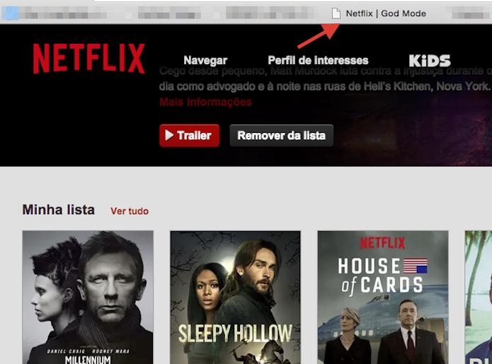 Acionando o God Modo no Netflix para visualizar mais títulos do site (Foto: Reprodução/Marvin Costa)
