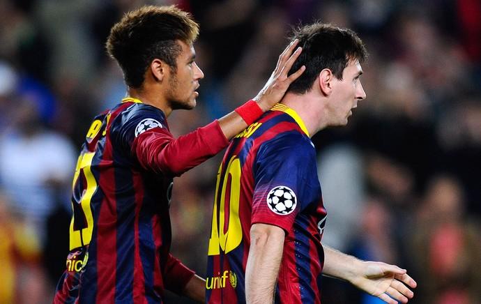 Neymar e Messi comemoração Barcelona jogo Milan Liga dos Campeoes (Foto: Getty Images)