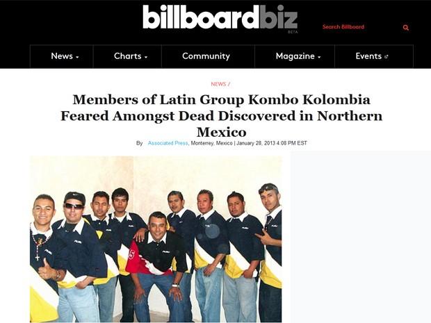 "Notícia desta segunda-feira (28) no site da revista ""Billboard"" mostra membros da banda colombiana Kombo Kolombia (Foto: Reprodução / Billboard.biz)"