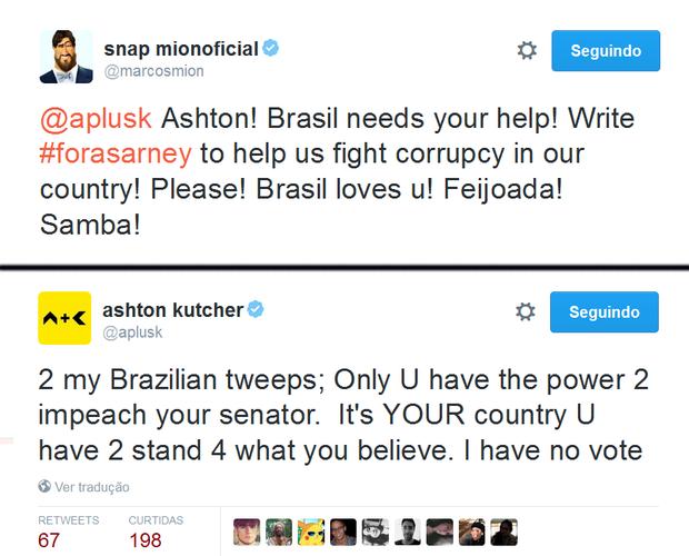 Marcos Mion publicou: Ashton! O Brasil precisa da sua ajuda! Escreva #ForaSarney pra nos ajudar a lutar contra a corrupção no nosso país. Por favor! O Brasil te ama! Feijoada! Samba.  (Foto: Reprodução/Twitter)