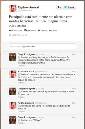 Conversa entre moradores de Petrópolis no Twitter sobre o temporal que assola a cidade desde domingo (17)  (Foto: Reprodução)