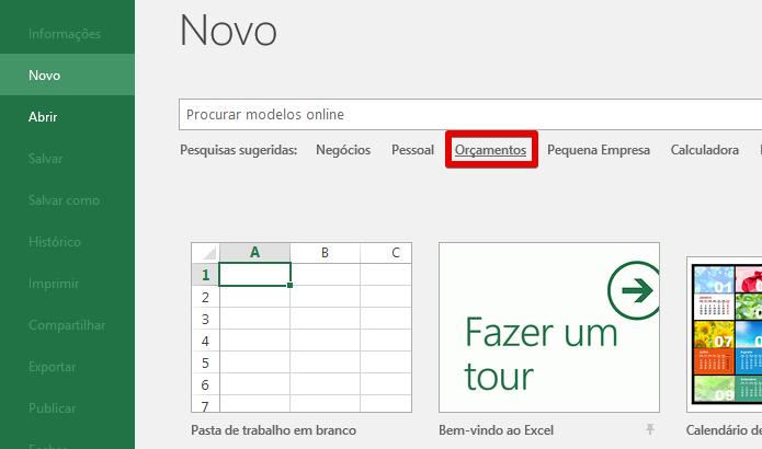 Acesse a galeria de modelos do Excel (Foto: Reprodução/Helito Bijora)