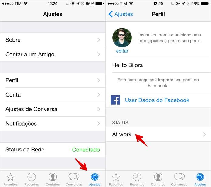 Alterando o status do WhatsApp no Android (Foto: Reprodução/Helito Bijora)