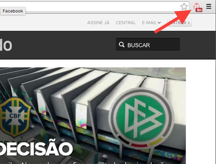 Clicando sobre o ícone do Web Timer para visualizar o relatório de acessos (Foto: Reprodução/Marvin Costa)