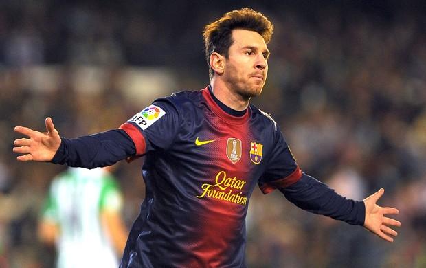 Messi comemora gol do Barcelona contra o Betis (Foto: AFP)