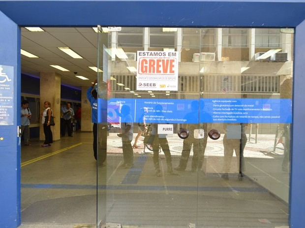 Agências bancárias não abriram nesta quinta-feira (Foto: Marina Fonele/G1)