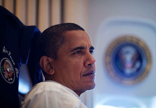 Presidente Barack Obama dentro do Air Force One (Foto:  The White House/Getty Images)