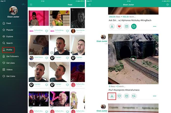 Toque no botão para fazer o download do vídeo do Vine (Foto: Reprodução/Elson de Souza)