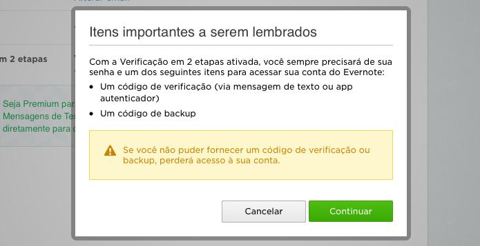 Para acessar o Evernote, será necessário digitar o código gerado pelo celular ou um código de backup (Foto: Reprodução/Helito Bijora)