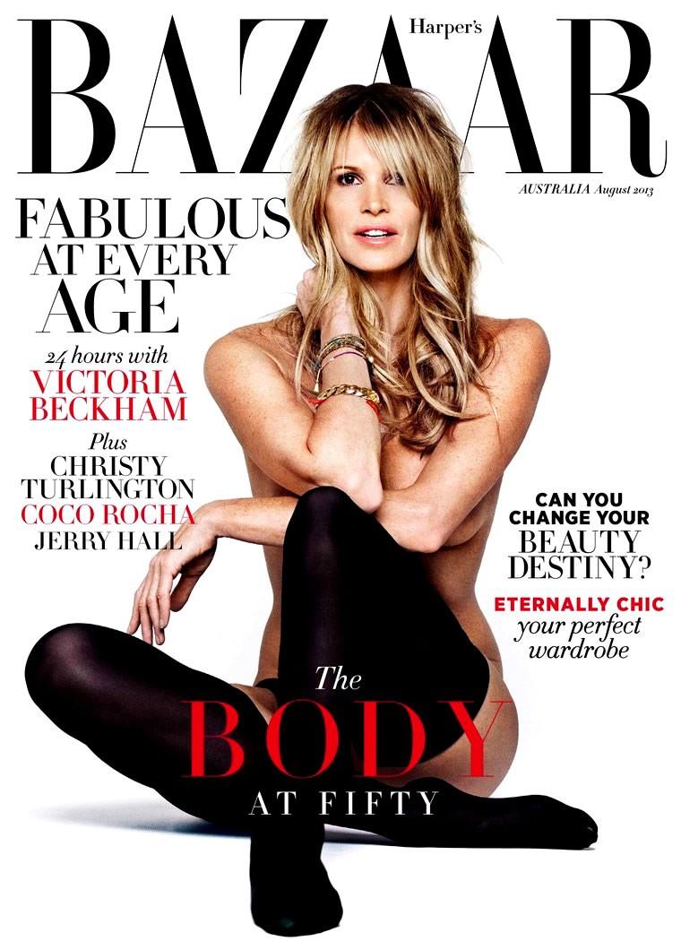 A supermodelo e atriz Elle Macpherson na 'Harper's Bazaar' da Austrália. (Foto: Reprodução)