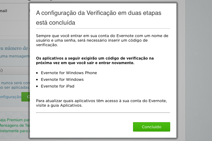 Finalizando configuração da verificação em duas etapas (Foto: Reprodução/Helito Bijora)