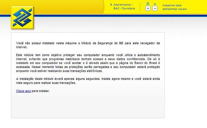 O Banco do Brasil impede o acesso de quem não possuir o software oficial à área de Internet Banking de seu site (Foto: Reprodução/Karla Soares)