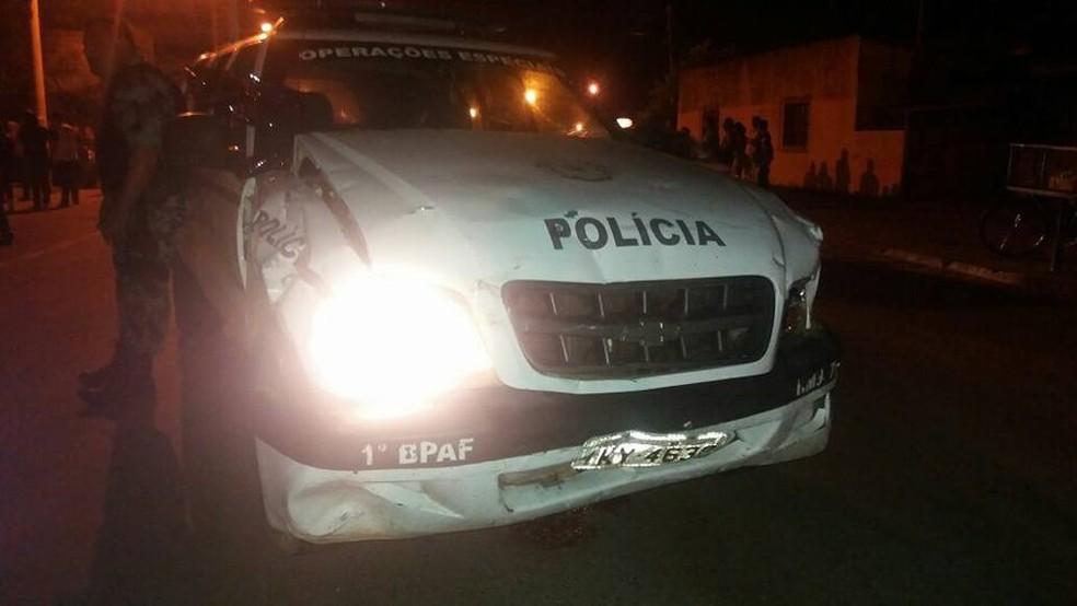 Viatura envolvida no acidente no Centro de Uruguaiana (Foto: Brigada Militar/Divulgação)