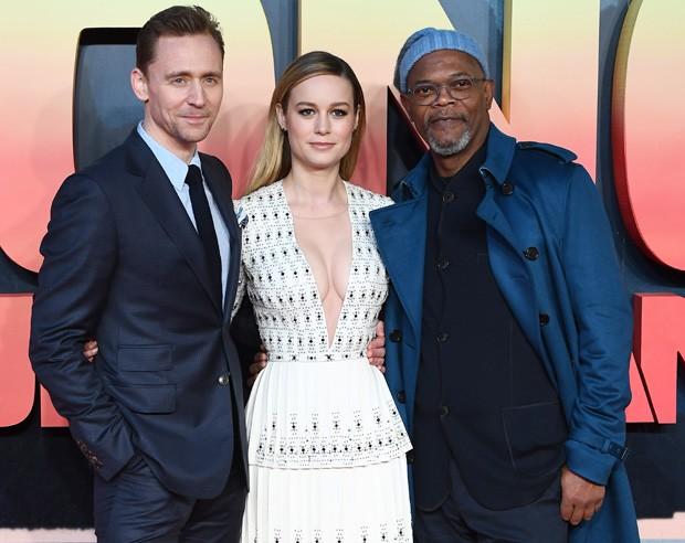 Tom Hiddleston, Brie Larson e Samuel L. Jackson (Foto: Ian Gavan/Getty Images)