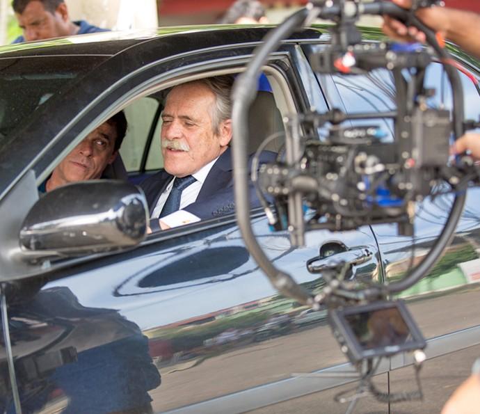 José de Abreu e Oscar Magrini durante os ensaios de cena em 'A Regra' (Foto: Fabiano Battaglin / Gshow)