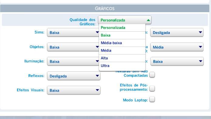 Clique em Qualidade dos Gráficos e selecione Baixa (Foto: Reprodução/Tais Carvalho)
