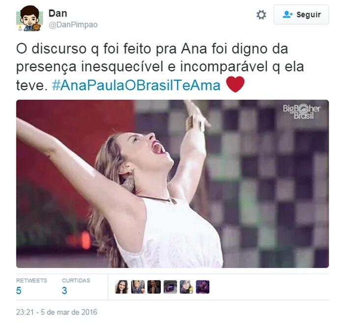 BBB 16 Twitter Ana Paula (Foto: Reprodução/Internet)