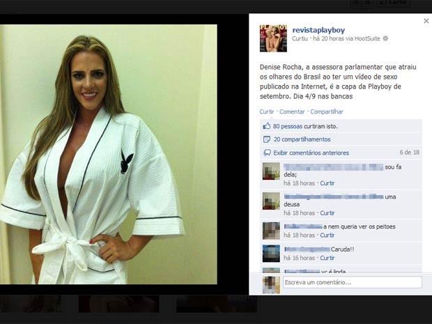 Denise Rocha em imagem de divulgação do ensaio para revista masculina (Foto: Reprodução/Facebook)
