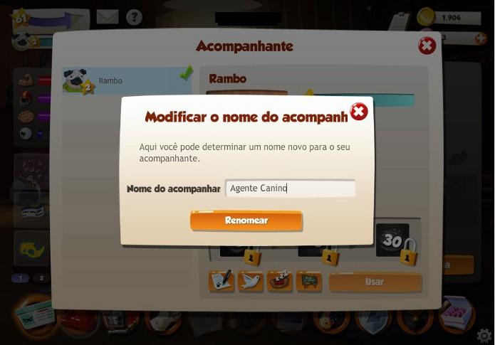 Insira o novo nome e clique no botão abaixo (Foto: Reprodução / João Moura)