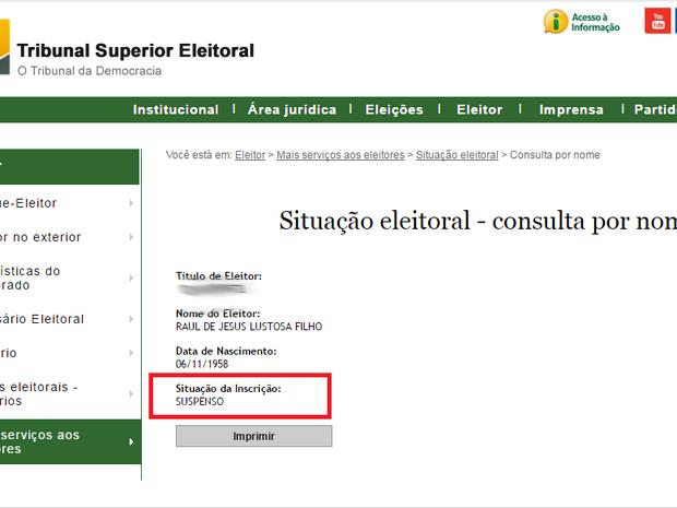 Site do TSE mostra que título de candidato a prefeito de Palmas está suspenso (Foto: Reprodução/TSE)