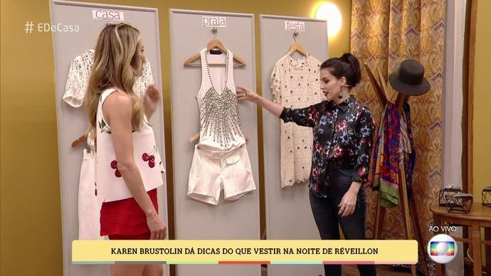 A estilista dá exemplos de look para o réveillon (Foto: TV Globo)