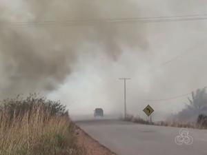 Município de Rorainópolis está coberto pela fumaça e moradores reclamam (Foto: Reprodução Rede Amazônica em Roraima)