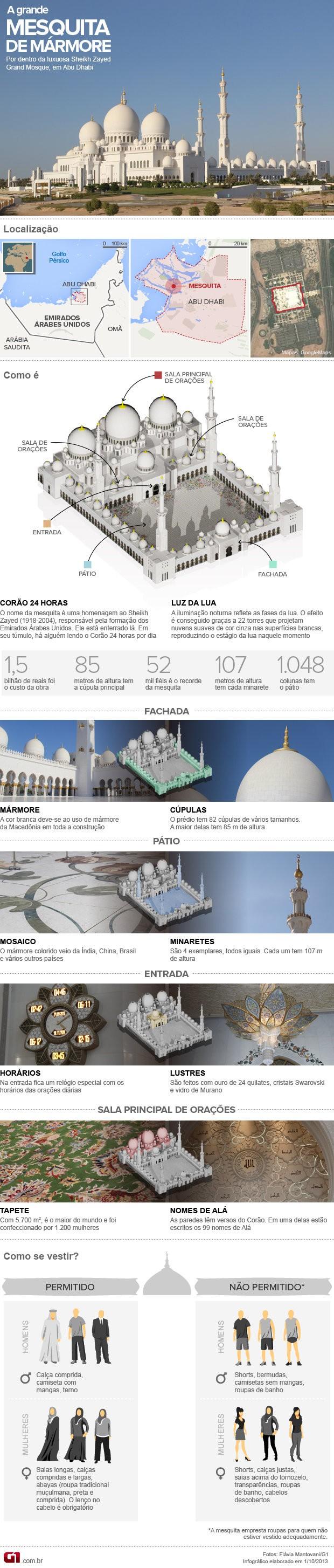 VALE ESTE- Arte grande mesquita de mármore de Abu Dhabi (Foto: Arte G1)