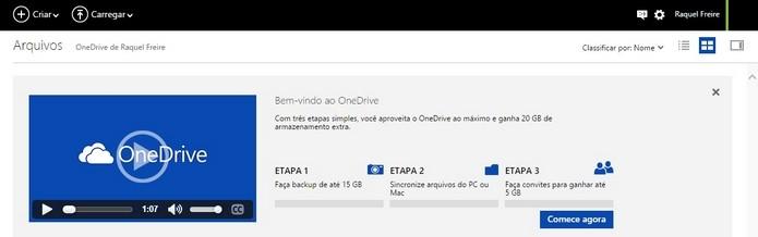 Espaço inicial do OneDrive pode ser aumentado gratuitamente (Foto: Reprodução/Raquel Freire)