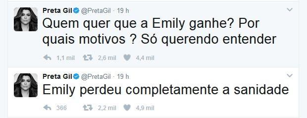 Preta Gil alfineta participação de Emily no BBB 17 (Foto: Reprodução do Twitter)